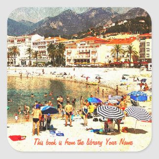 Bibliotek för platsen för stranden för Côte d'Azur Klistermärke