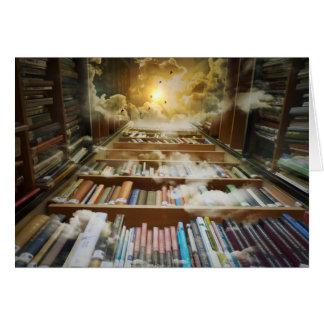 Bibliotek i himmlen hälsningskort