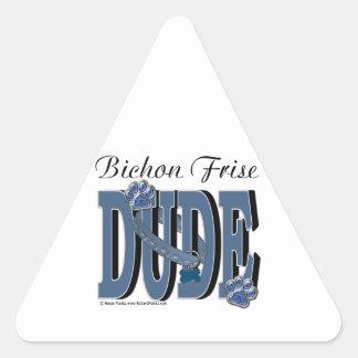 Bichon Frise DUDE Triangelformat Klistermärke