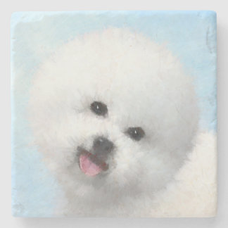 Bichon Frise målning - gullig original- hundkonst Underlägg Sten