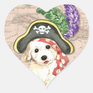 Bichon Frise pirat Hjärtformat Klistermärke