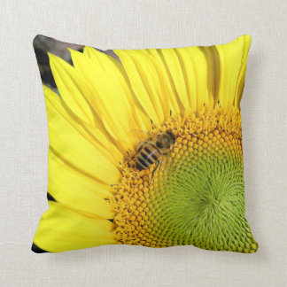Biet på solrosslut fotograferar upp kudde