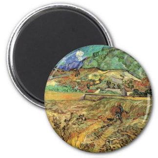 Bifogad bonde för vetefältw av Vincent Van Gogh Magnet