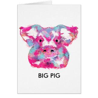 Big pink pig dirty ego hälsningskort