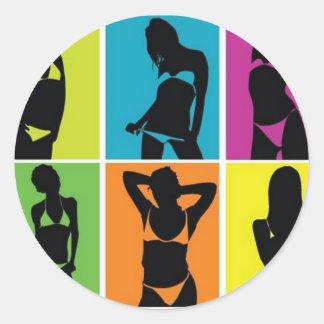 Bikiniflickadesign Runt Klistermärke