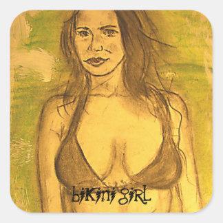 bikiniflickakonst fyrkantigt klistermärke