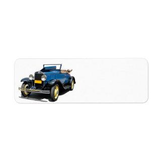 Bil 1930 för vintageChevy cabriolet Returadress Etikett