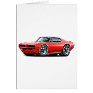 Bil för billykta för domare för 1969 GTO röd gömmd Hälsningskort