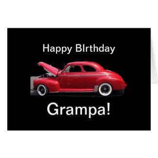 Bil för farfarfödelsedagklassiker hälsningskort