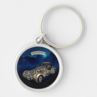 Bil för Retro guld- blått för vintage Sparkling Rund Silverfärgad Nyckelring