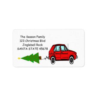 Bil- och trädjuletikett adressetikett