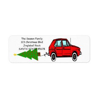 Bil- och trädjuletikett returadress etikett