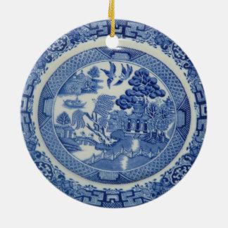 Bilder för prydnad 2 för blåttpilrunda julgransprydnad keramik