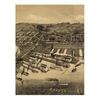 Bildmässig karta för vintage av Duluth Minnesota Vykort