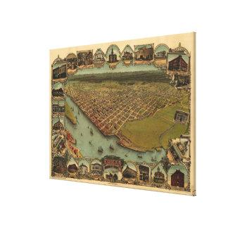 Bildmässig karta för vintage av Eureka Kalifornien Canvastryck