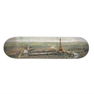 Bildmässig karta för vintage av Paris (1900) Skateboard Bräda 20,5 Cm