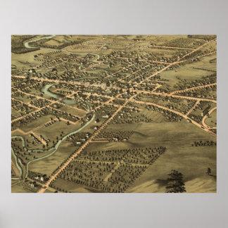 Bildmässig karta för vintage av Pontiac Michigan ( Poster