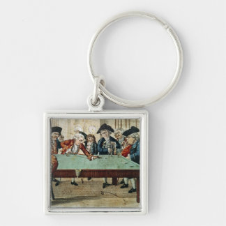 Biljard, 18th århundradeetsning vid R.Sayer Fyrkantig Silverfärgad Nyckelring