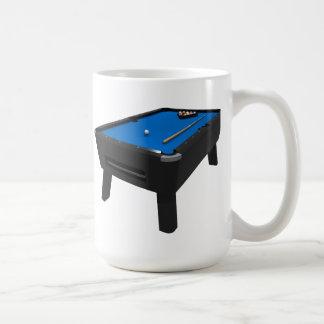 Biljard/bassängbord: Blått klädde med filt: Vit Mugg