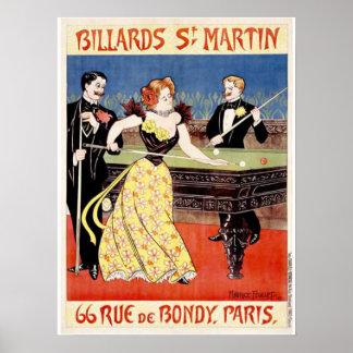 Biljard St Martins, Paris Poster
