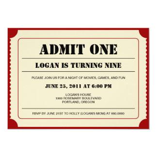 Biljetten stöter partyinbjudan 12,7 x 17,8 cm inbjudningskort