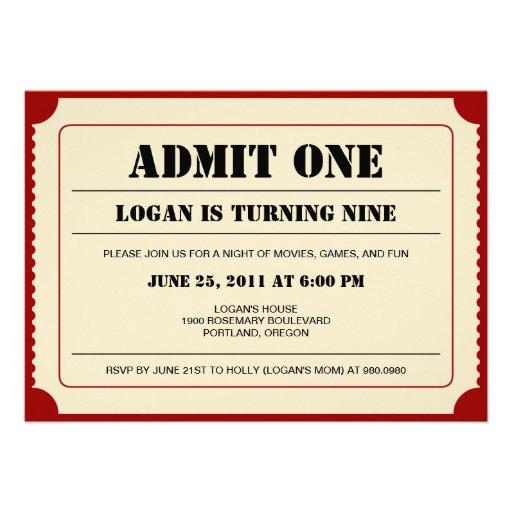 Biljetten stöter partyinbjudan inbjudningar