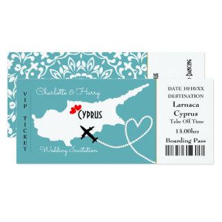 Biljettlogiet passerar bröllopdestinationen Cypern 10,2 X 23,5 Cm Inbjudningskort