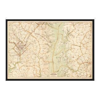 Bilkarta av Washington Område (1909) Canvastryck