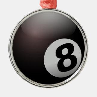 Billiardbassäng för 8 boll rund silverfärgad julgransprydnad