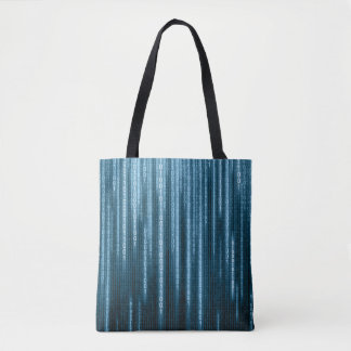 Binära blått regnar all över - trycktotot hänger tygkasse