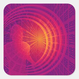Binärt kodifiera high techabstraktdesignen fyrkantigt klistermärke