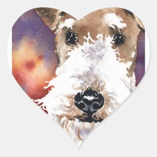 Binda foxterriern hjärtformat klistermärke