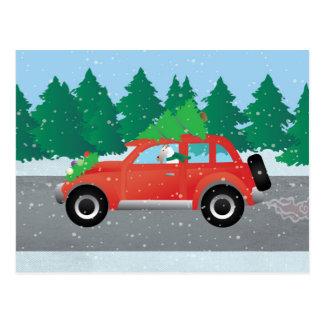 Binda foxterriern som kör en julbil vykort