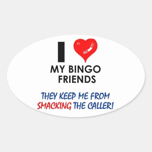 BINGO! Bingodesigner för den sagolika spelare! Ovalformat Klistermärke