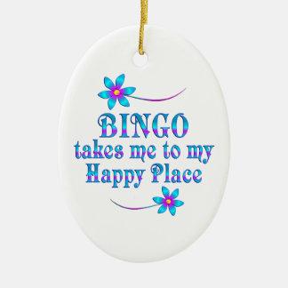 Bingo mitt lyckliga ställe julgransprydnad keramik