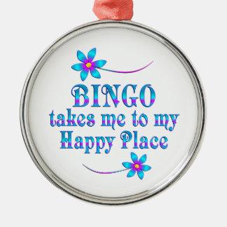 Bingo mitt lyckliga ställe julgransprydnad metall