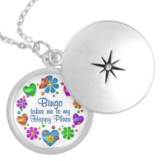 Bingo mitt lyckliga ställe silverpläterat halsband