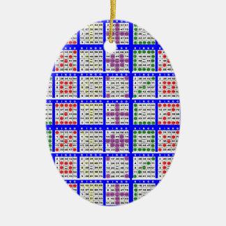 Bingoleken mönstrar stort raster julgransprydnad keramik
