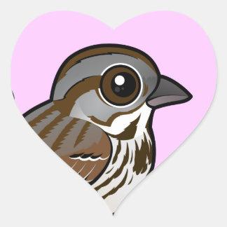 Birdorable sångSparrow Hjärtformat Klistermärke