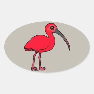 Birdorable scarlet Ibis Ovalt Klistermärke