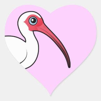 Birdorable vit Ibis Hjärtformat Klistermärke