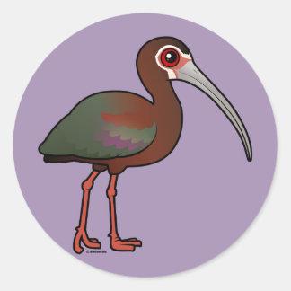 Birdorable Vit-vände mot Ibis Runt Klistermärke