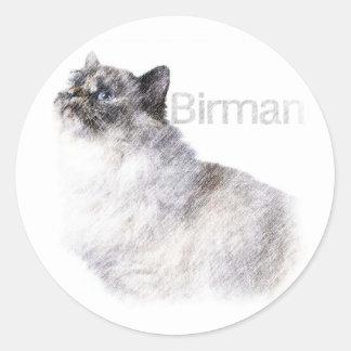 Birman 2 ritar konst runt klistermärke
