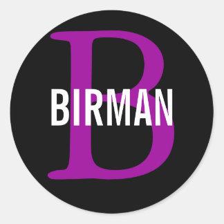 Birman avelMonogram Runt Klistermärke