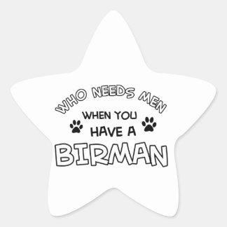 Birman kattdesigner stjärnformat klistermärke