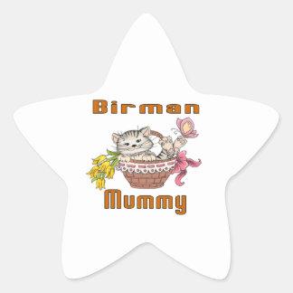 Birman kattmamma stjärnformat klistermärke