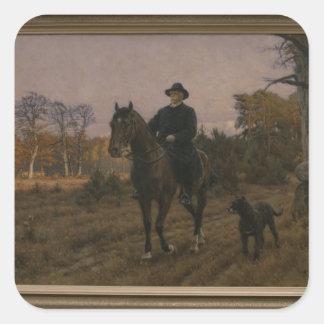 Bismarck på hästrygg med hunden fyrkantigt klistermärke