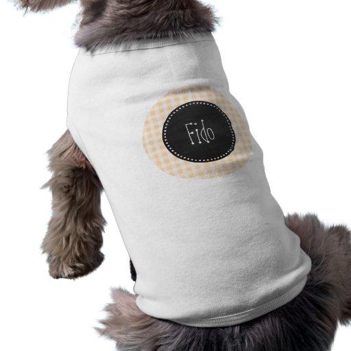 BisquefärgGingham; Retro svart tavla T-shirt För Hundar