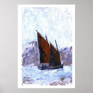 Bisquine segelbåt poster