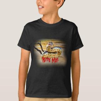 Bita mig T-tröja för ormdesignsvarten Tröjor